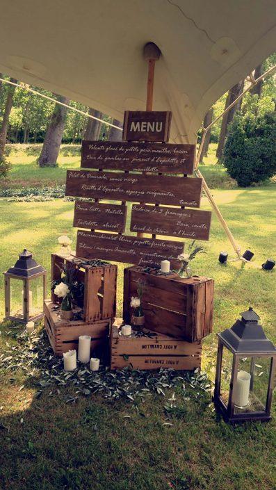 Menu repas de mariage Label' Emotion Occitanie